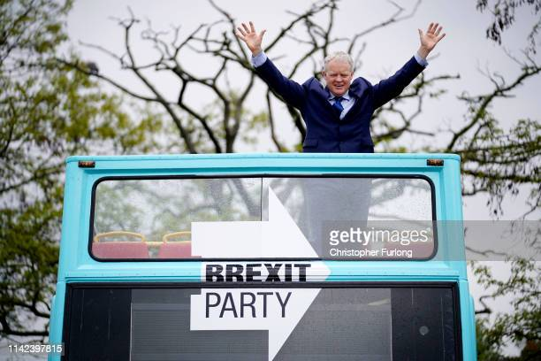 Brexit Party's Peterborough constituency byelection candidate Mike Greene poses for the media on a campaign bus on May 09 2019 in Peterborough...