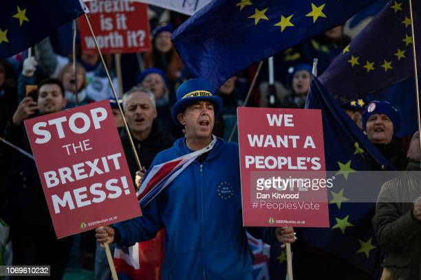Brexit protesters continue to demonstrate outside the Houses of Parliament on November 19 2018 in London England The newly appointed Brexit Secretary...