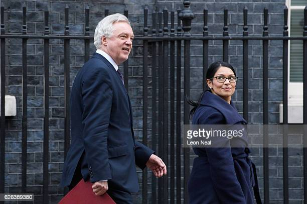 Brexit Secretary David Davis and International Development Secretary Priti Patel leave following a Cabinet meeting at 10 Downing Street on November...