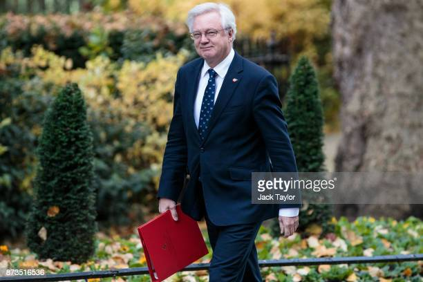 Brexit Secretary David Davis arrives at Number 10 Downing Street on November 13 2017 in London England British Prime Minister Theresa May is to hold...