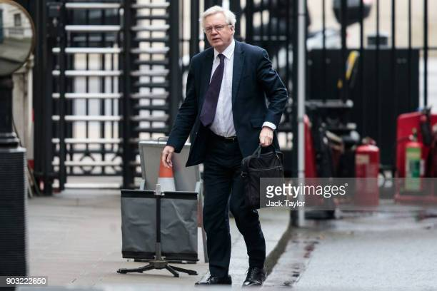 Brexit Secretary David Davis arrives at the Department for Exiting the European Union on Downing Street on January 10 2018 in London England Mr Davis...