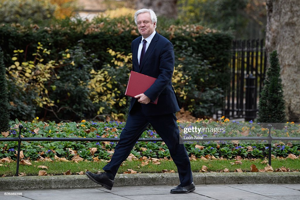 Brexit Secretary David Davis arrives for a Cabinet meeting at 10 Downing Street on November 29, 2016 in London, England. The government has been forced to deny any involvement with a handwritten page of notes on Brexit plans that were photographed in Downing Street yesterday.