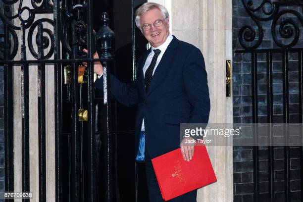 Brexit Secretary David Davis arrives for a meeting at Downing Street on November 20 2017 in London England British Prime Minister Theresa May is...