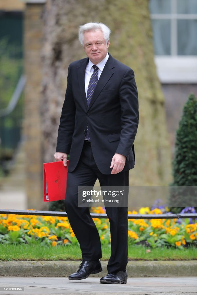 Brexit Secretary David Davis arrives for the weekly cabinet meeting at 10 Downing Street on March 13, 2018 in London, England.