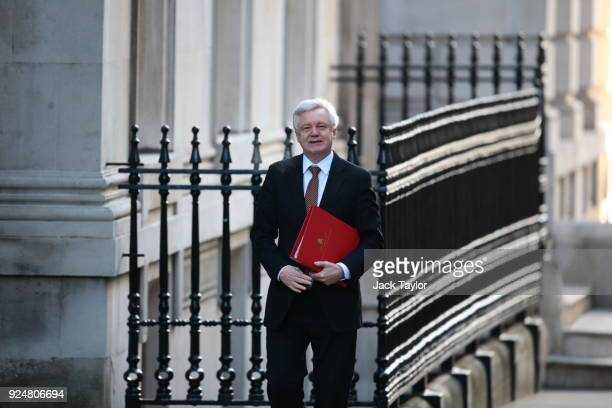 Brexit Secretary David Davis arrives in Downing Street for the weekly cabinet meeting on February 27 2018 in London England