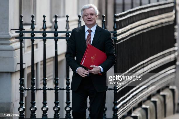 Brexit Secretary David Davis arrives on Downing Street for the weekly cabinet meeting on February 27 2018 in London England