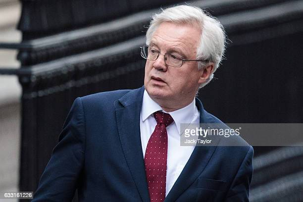 Brexit Secretary David Davis is pictured leaving following the weekly cabinet meeting at Downing Street on January 31 2017 in London England The...