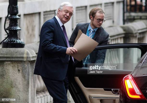 Brexit Secretary David Davis leaves Downing Street on November 21 2017 in London England Sinn Fein and DUP leaders meet with British Prime Minister...