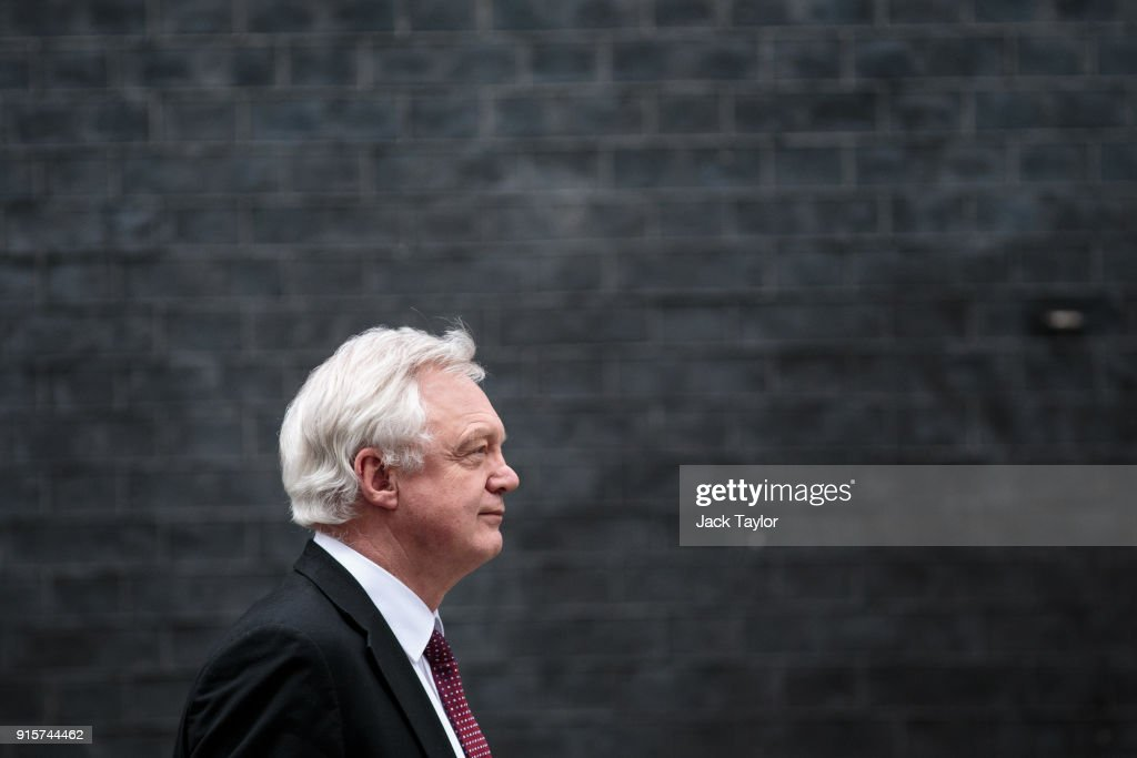 Brexit Secretary David Davis leaves Number 10 Downing Street following a Brexit sub-committee meeting on February 8, 2018 in London, England. British Prime Minister Theresa May holds a brexit cabinet meeting with government ministers to discuss terms of the future relationship with the European Union after leaving.