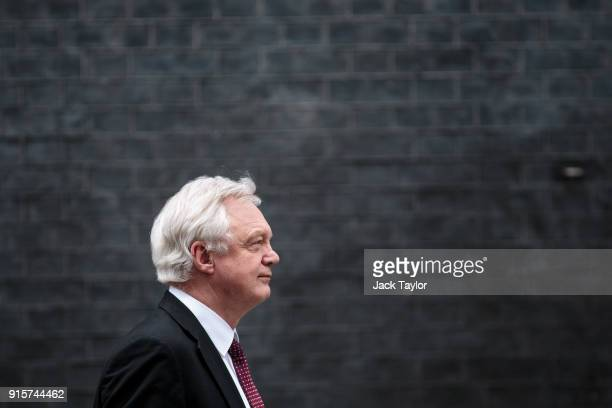 Brexit Secretary David Davis leaves Number 10 Downing Street following a Brexit subcommittee meeting on February 8 2018 in London England British...