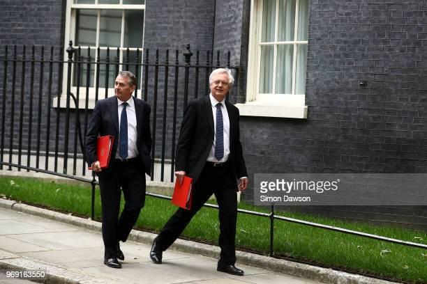 Brexit Secretary David Davis right and International Trade Secretary Liam Fox leave 10 Downing Street on June 7 2018 in London England Prime Minister...