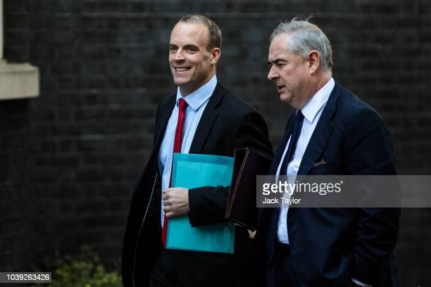 Brexit Secretary Dominic Raab arrives for a Brexit cabinet meeting on immigration policy at Downing Street on September 24 2018 in London England...