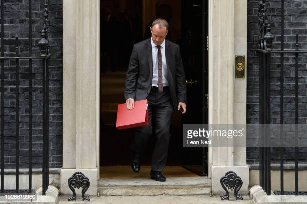 Brexit Secretary Dominic Raab leaves number 10 Downing Street following the first Cabinet meeting after the Summer recess at Downing Street on...
