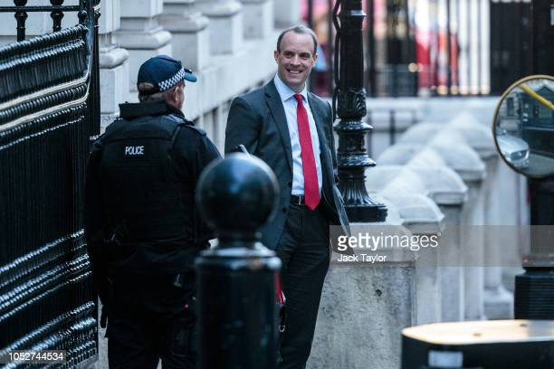 Brexit Secretary Dominic Raab leaves the Department for Exiting the European Union on October 22 2018 in London England British Prime Minister...