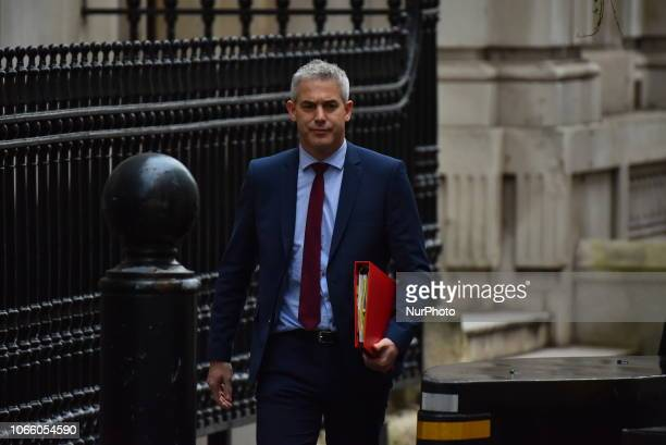 Brexit Secretary Stephen Barclay leaves the Cabinet Office at Downing Street on November 28 2018 in London England Chancellor Philip Hammond says...