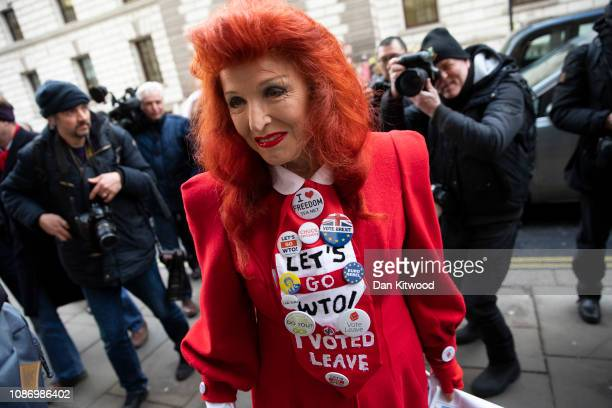Brexit supporter arrives to listen to a speech by Brexiteer Conservative MP Jacob ReesMogg during a Bruge Group meeting on January 23 2019 in London...