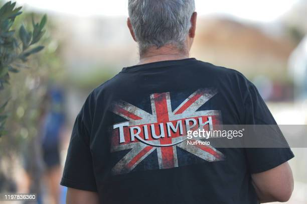A Brexit supporter seen along the circuit of the 2020 Israman competition On Friday January 31 in Eilat Israel