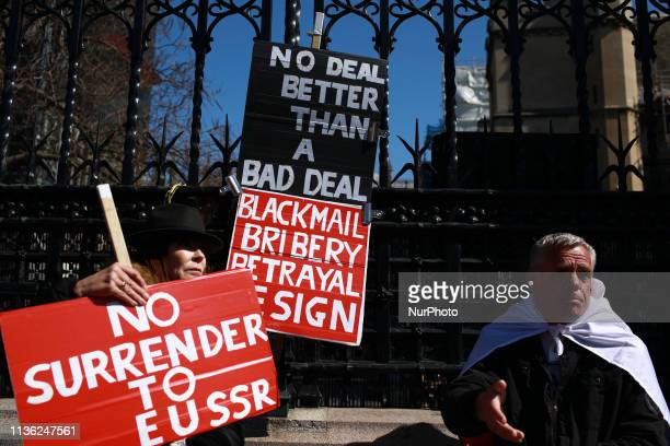 Brexit supporters demonstrate outside the Houses of Parliament in London England on April 10 2019 Theresa May travelled to Brussels this afternoon...