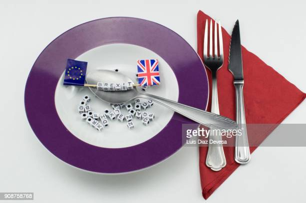Brexit word highlighted on alphabet soup letters