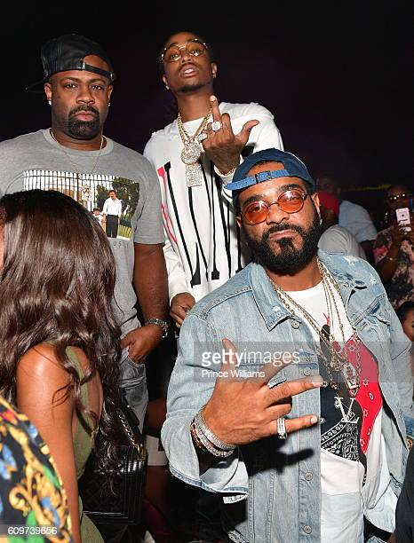 Breyon Prescott Quavo of the Group Migos and Rapper Jim Jones attend the BET Hip Hop Awards 2016 Weekend Takeover Hosted By DJ Khaled Rick Ross Lil...