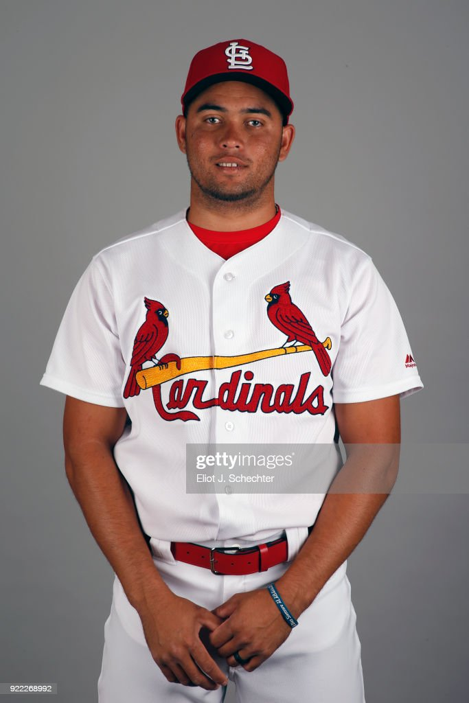 Breyvic Valera #41 of the St. Louis Cardinals poses during Photo Day on Tuesday, February 20, 2018 at Roger Dean Stadium in Jupiter, Florida.