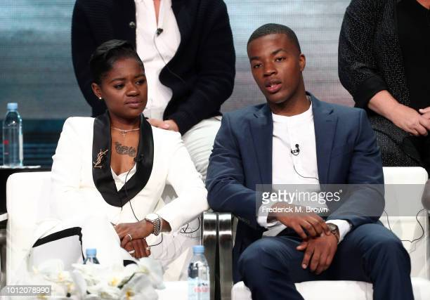 """Bre-Z and Daniel Ezra from """"All American"""" speak onstage at the CW Network portion of the Summer 2018 TCA Press Tour at The Beverly Hilton Hotel on..."""