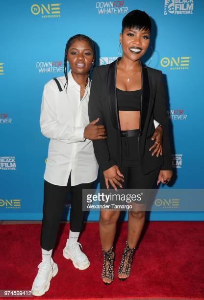 BreZ and London Langston are seen at the TV One Down For Whatever premiere at the American Black Film Festival at the Colony Theatre on June 14 2018...