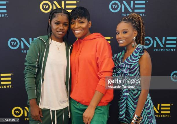 BreZ Imani Hakim and London Langston are seen at the TV One Industry Expo at the American Black Film Festival at the Loews Hotel on June 14 2018 in...
