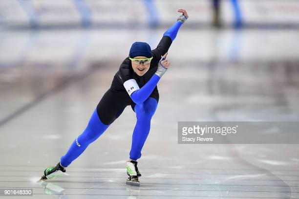 Bri Bocox competes in the Ladies 500 meter event during the Long Track Speed Skating Olympic Trials at the Pettit National Ice Center on January 5...