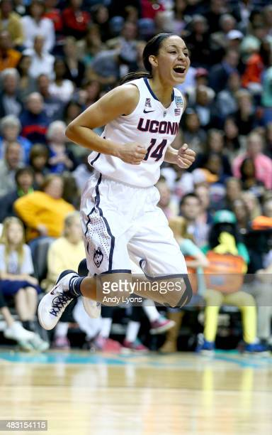 Bria Hartley of the Connecticut Huskies reacts after a play in the second half against the Stanford Cardinal during the NCAA Women's Final Four...