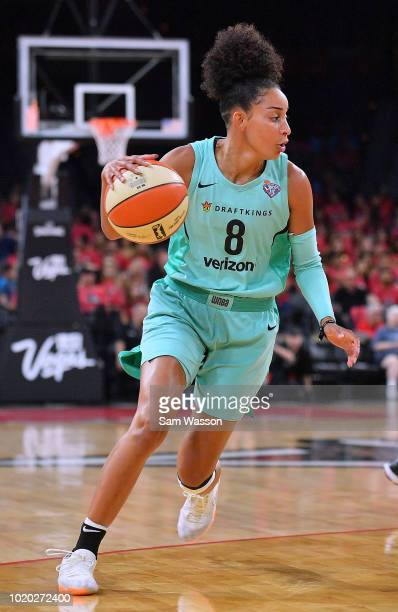 Bria Hartley of the New York Liberty dribbles against the Las Vegas Aces during their game at the Mandalay Bay Events Center on August 15 2018 in Las...