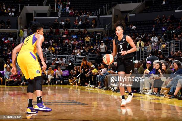 Bria Hartley of the New York Liberty handles the ball during the game against the Los Angeles Sparks on August 14 2018 at Staples Center in Los...