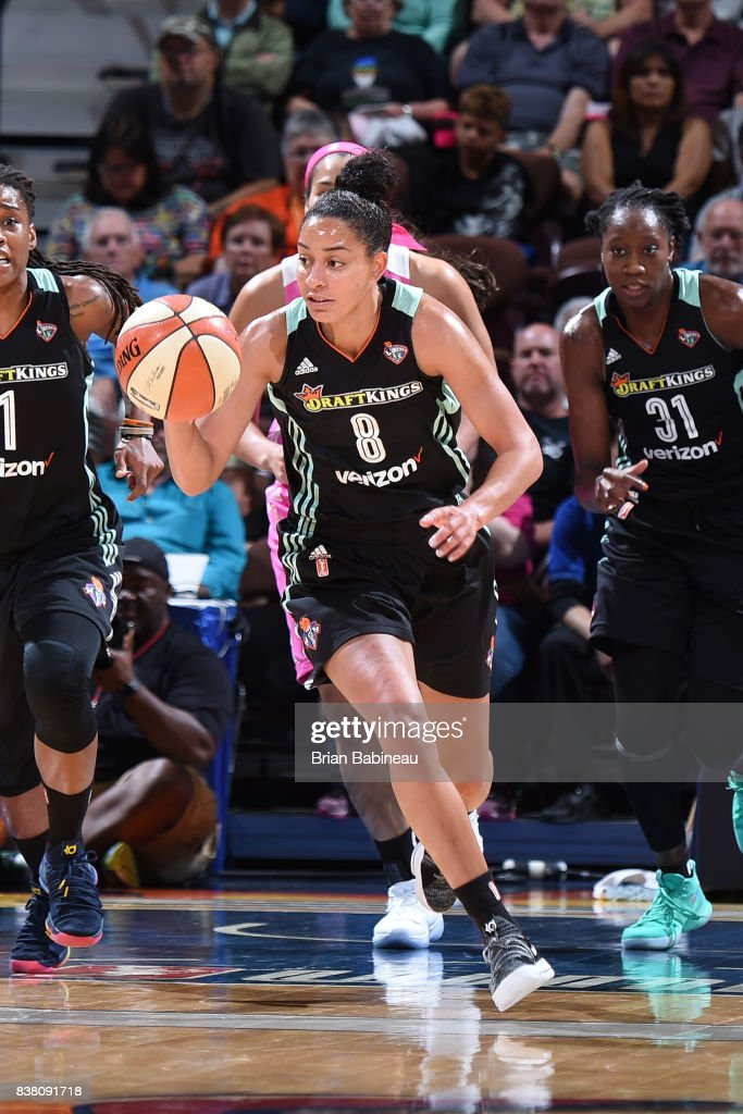 Bria Hartley #8 of the New York Liberty handles the ball during the game against the Connecticut Sun on August 18, 2017 at the Mohegan Sun Arena in Uncasville, Connecticut.