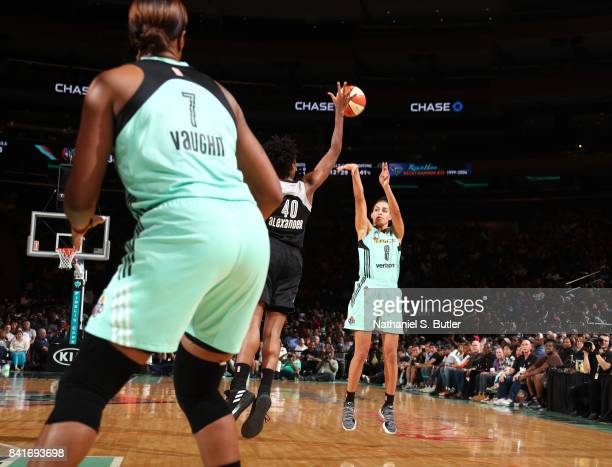 Bria Hartley of the New York Liberty passes the ball against the San Antonio Stars on September 1 2017 at Madison Square Garden in New York New York...