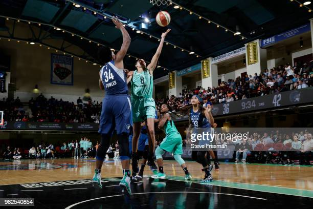 Bria Hartley of the New York Liberty shoots the ball against the Minnesota Lynx on May 25 2018 at Westchester County Center in White Plains New York...