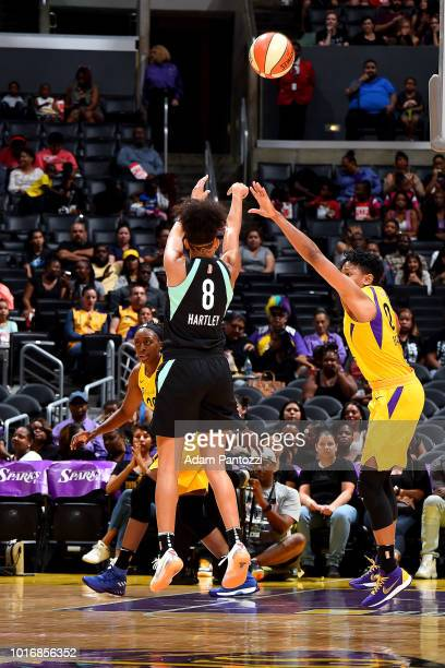 Bria Hartley of the New York Liberty shoots the ball during the game against the Los Angeles Sparks on August 14 2018 at Staples Center in Los...