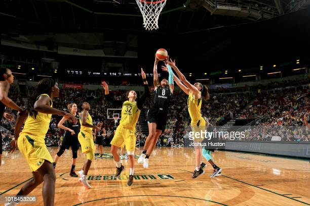 Bria Hartley of the New York Liberty shoots the ball during the game against the Seattle Storm on August 17 2018 at Key Arena in Seattle Washington...
