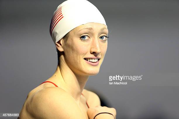 Bria Larson of USA takes part in a training session prior to the Duel In The Pool at Tollcross International Swimming Centre on December 18 2013 in...