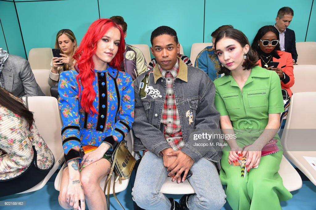 Bria Vinaite, Kelvin Harrison Jr. and Rowan Blanchard attend the Gucci show during Milan Fashion Week Fall/Winter 2018/19 on February 21, 2018 in Milan, Italy.