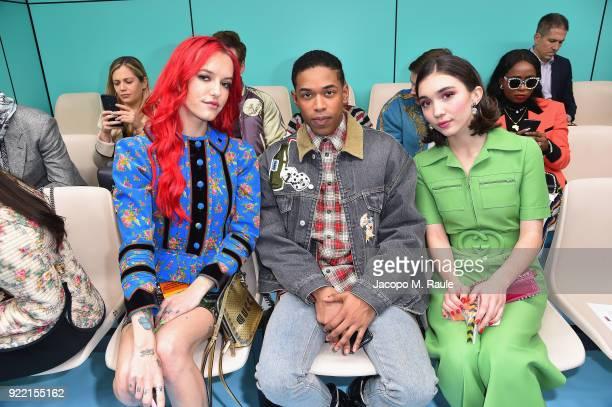 Bria Vinaite Kelvin Harrison Jr and Rowan Blanchard attend the Gucci show during Milan Fashion Week Fall/Winter 2018/19 on February 21 2018 in Milan...