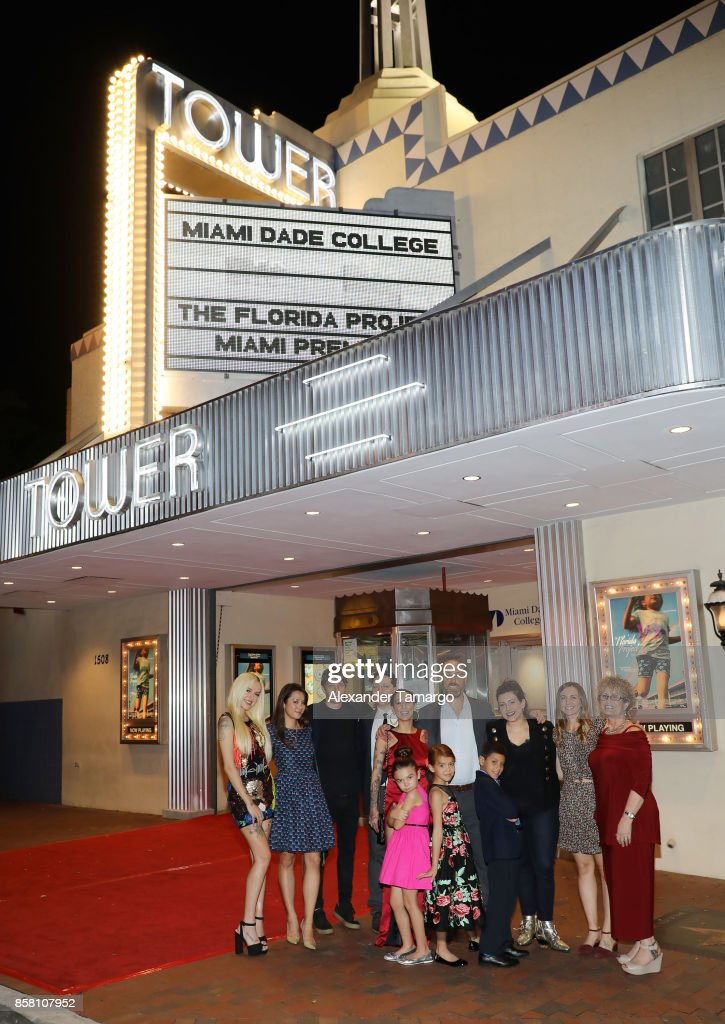 Bria Vinaite, Mela Murder, Sean Baker, Chris Bergoch, Brooklynn Prince, Christopher Rivera and Valeria Cotto are seen at the Tower Theater during 'THE FLORIDA PROJECT' Miami Premiere on October 5, 2017 in Miami, Florida.
