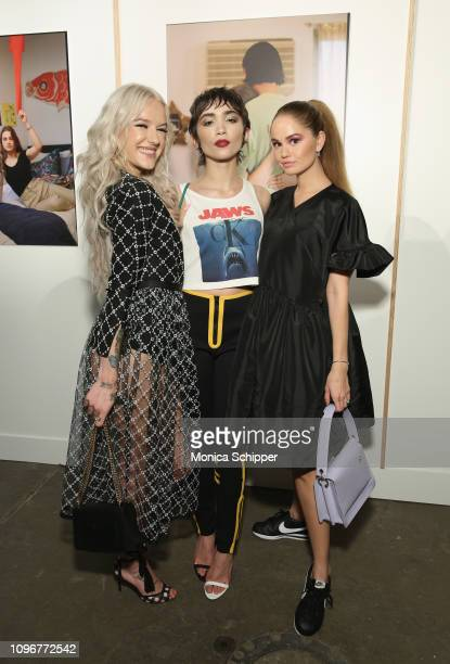 Bria Vinaite, Rowan Blanchard and Debby Ryan attend the Tiffany & Co. Modern Love Photography Exhibition on February 9, 2019 in New York City.