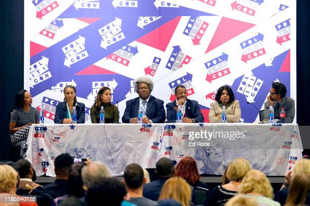 Briahna Gray Maya Wiley Alexi McCammond Elie Mystal Malcolm Nance April Ryan and Touré speak onstage during day 2 of Politicon 2019 at Music City...