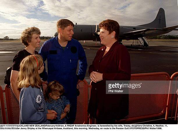 Brian A RNZAF Aviatronics Engineer is farewelled by his wife Tracey daughters Christine Heather rand Prime Minister Jenny Shipley at the Whenuapai...