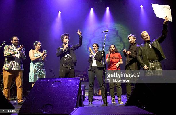 Brian Adam McCune Lyz Luke Billie Joe Armstrong Oakland Mayor Libby Shaaf Kamala Parks Mike Dirnt and Tre Cool of Green Day attend a Green Day Day...