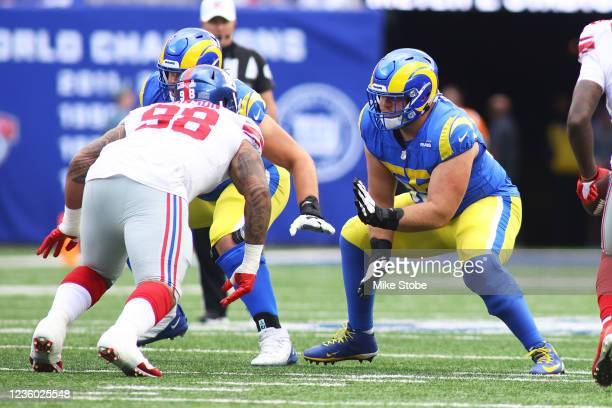 Brian Allen of the Los Angeles Rams in action against the New York Giants at MetLife Stadium on October 17, 2021 in East Rutherford, New Jersey. Los...