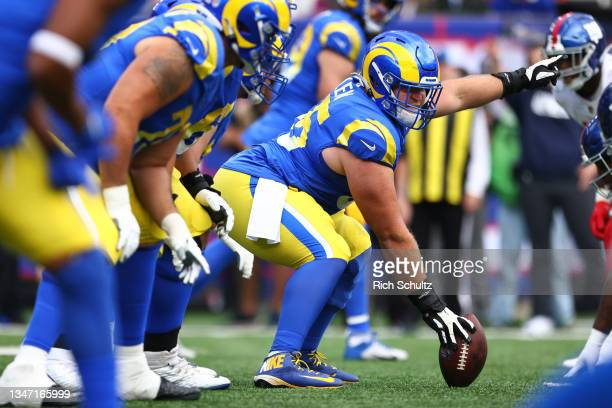 Brian Allen of the Los Angeles Rams in action against the New York Giants during a game at MetLife Stadium on October 17, 2021 in East Rutherford,...