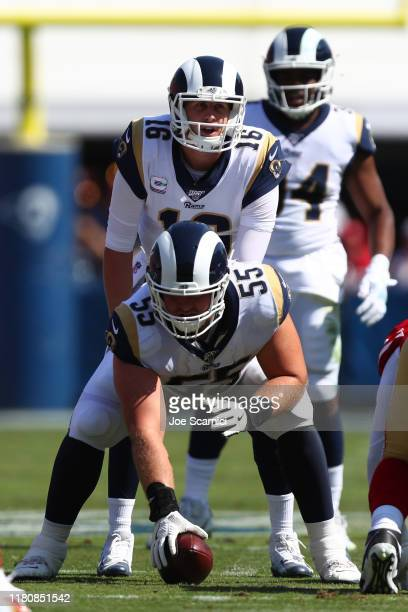 Brian Allen of the Los Angeles Rams prepares to snap the ball to Jared Goff of the Los Angeles Rams in the first quarter against the San Francisco...