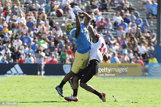Brian Allen of the Utah Utes breaks up a pass intended for Darren Andrews of the UCLA Bruins during PAC12 college football game at Rose Bowl on...
