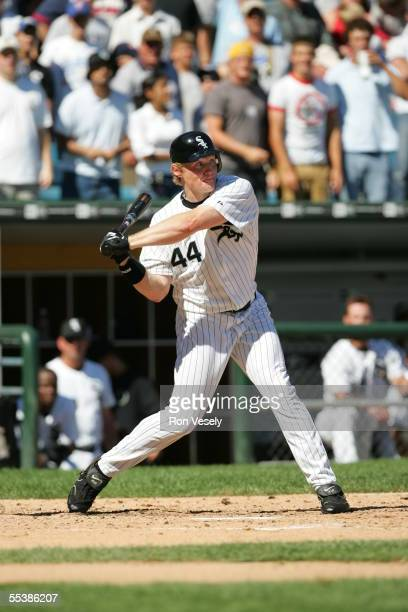 Brian Anderson of the Chicago White Sox at bat during the game against the New York Yankees at U.S. Cellular Field on August 21, 2005 in Chicago,...